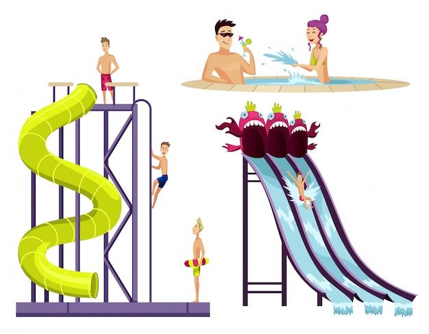 Buntes aquapark-set aus verschiedenen wasserröhren mit spielenden kindern.