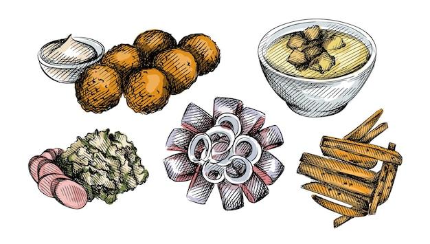 Buntes aquarell hand gezeichneter illustrationssatz der niederländischen küche.