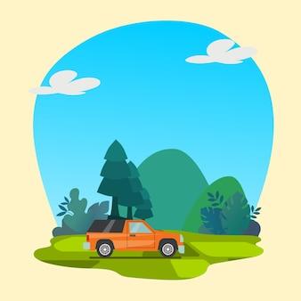 Buntes auto mit naturhintergrund-premiumvektor