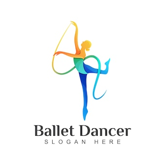 Buntes ballett-tänzer-logo, illustrationsschablone des tanzenden mädchenlogos
