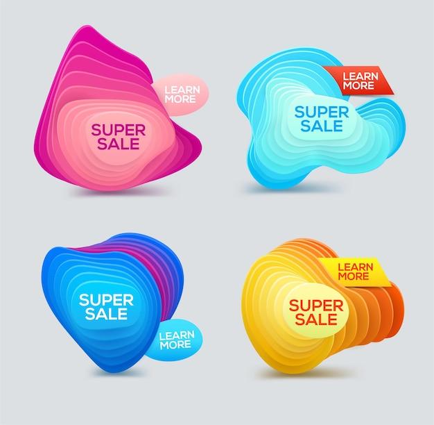 Buntes banner aus farbverlaufsformen für super sale, rabatt und saison-sonderangebot.