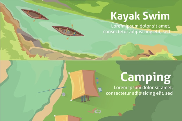 Buntes bannerset für ihr unternehmen, websites usw. bestes camping, kajakfahren. isolierte illustration.
