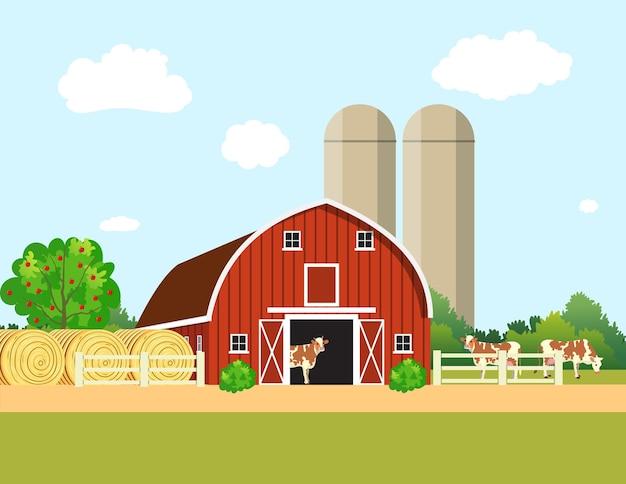 Buntes bauernleben mit natürlicher wirtschaft. farm flache landschaft. bio-lebensmittelkonzept für jedes design, web, landwirtschaftliche anwendung