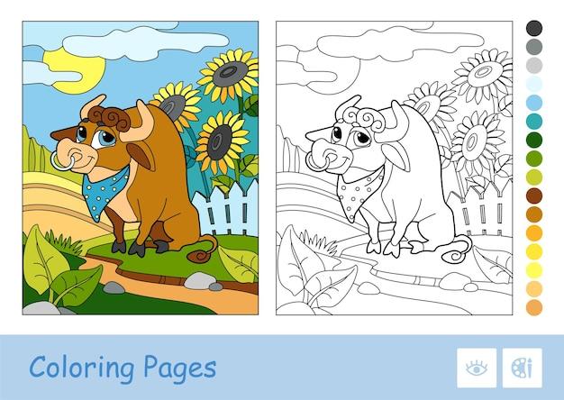 Buntes beispiel der illustration mit einem stier, der nahe einem hof weidet und farbloses duplikat.