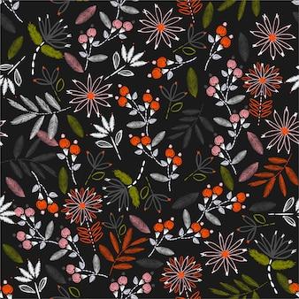 Buntes blühen von nahtlosen musterblumen der empfindlichen stickerei in der vektorhand, die stimmungsdesign für hauptdekor, mode, gewebe, tapete, verpackung und alle drucke näht