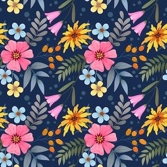 Buntes blumen auf nahtlosem muster des dunkelblauen hintergrunds für textil-tapete des stoffes.