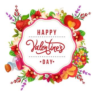 Buntes blumenarrangement der valentinstagskarte