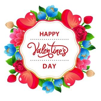 Buntes blumenarrangement zum valentinstag