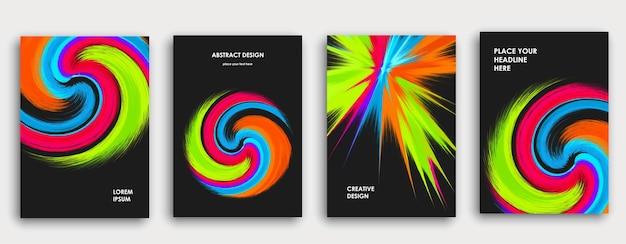 Buntes buch-cover-seitendesign. abstrakter hintergrund. lackexplosion. poster, jahresbericht des unternehmensgeschäfts, a4-broschüre, kreatives magazinmodell. helle pinselstriche. mehrfarbiger vektor.