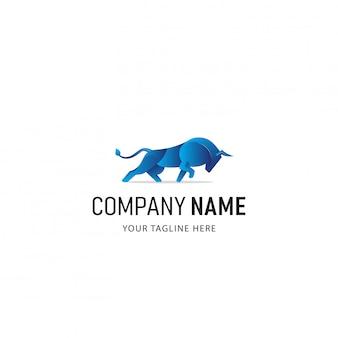 Buntes bull logo design. tier-logo mit farbverlauf