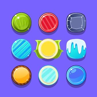 Buntes candy flash-spielelementvorlagen-design-set mit runden süßigkeiten für drei in der reihe art des videos