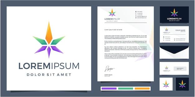 Buntes cannabis-logo-design mit briefpapierdesign