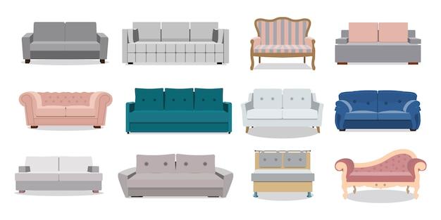 Buntes cartoon-illustrationsset des sofas und der sofas. sammlung der bequemen lounge für innenarchitektur lokalisiert auf weißem hintergrund.
