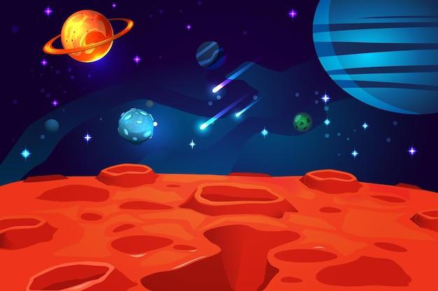 Buntes cartoon-spiel des weltraums mit funkelnden sternen und asteroiden der roten planetenoberfläche des nachthimmels