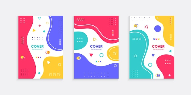 Buntes cover-set im memphis-stil