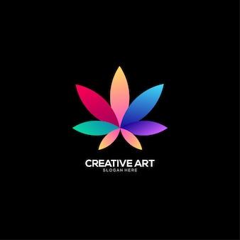 Buntes design des cannabis-logos mit farbverlauf