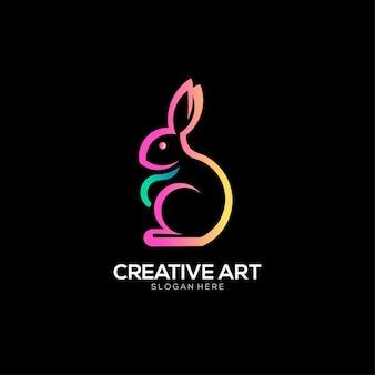 Buntes design des kaninchen-logos mit farbverlauf