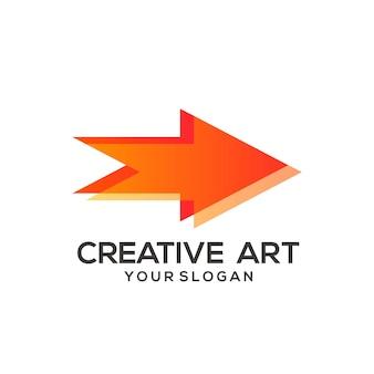 Buntes design mit pfeil-logo-steigung