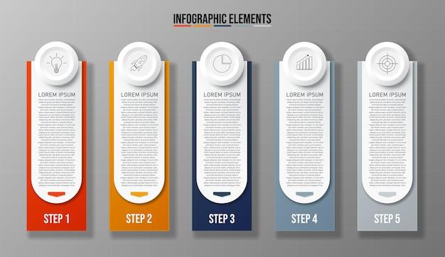 Buntes design saubere nummer 5 optionen banner vorlage grafik oder website-layout einfach zu bedienen.