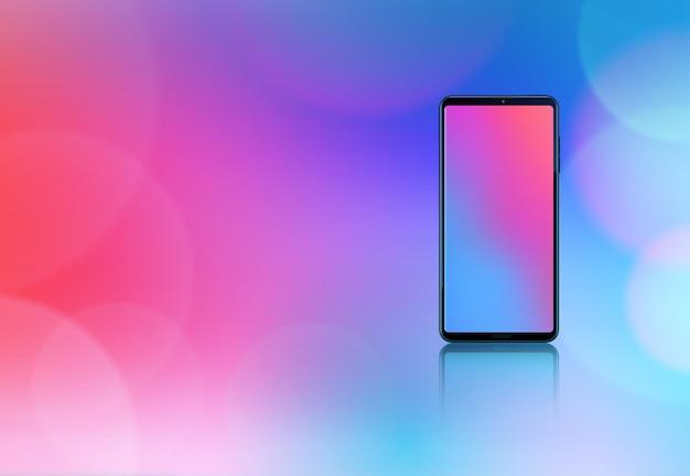 Buntes designkonzept des smartphone-modells auf farbverlauf mit realistischen aufflackern