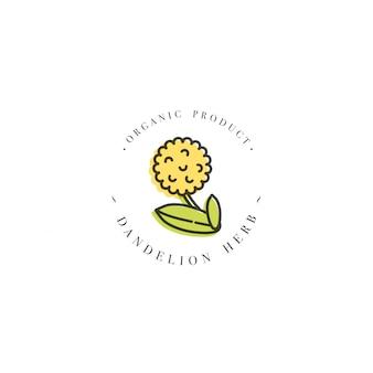 Buntes designschablonenlogo und emblem gesunder kräuterlöwenzahn. logo im trendigen linearen stil lokalisiert auf weißem hintergrund.