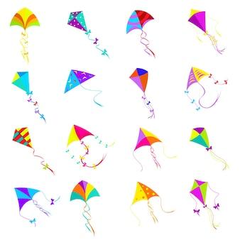 Buntes drachenset. spielzeugdesign, objektgruppe für aktivitätsspiel, fliegenfreiheit