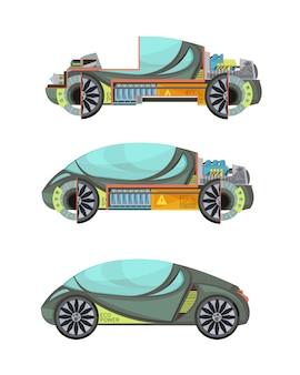 Buntes eco freundliche elektroautos stellte lokalisiert auf weißem hintergrund ein