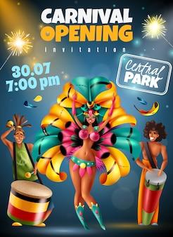 Buntes einladungsplakat der brasilianischen jährlichen karnevalsfestival-eröffnungsansage mit funkelnden lichttänzermusikantenkostümvektorillustration