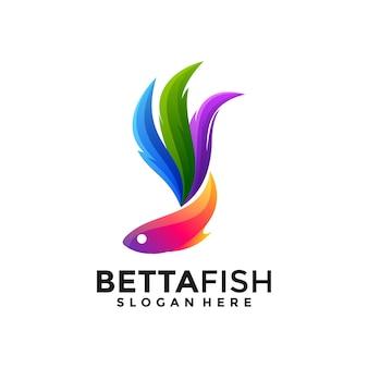 Buntes einzigartiges logo des betta-fischgradienten