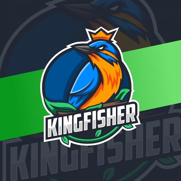 Buntes eisvogelvogel-maskottchen-logo-design