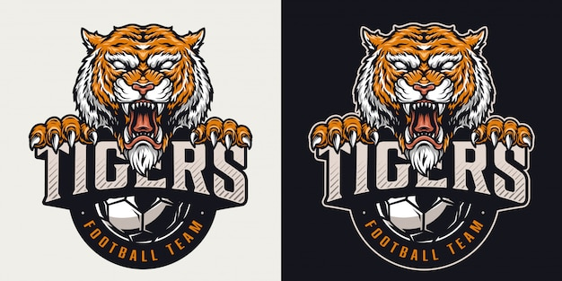 Buntes emblem des weinlesefußballclubs
