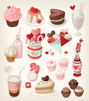 Buntes essen für verliebte anlässe: valentinstag, romantisches date, hochzeit