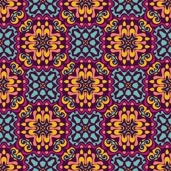 Buntes ethnisches festliches abstraktes vektormuster mit ziegeln gedecktes design