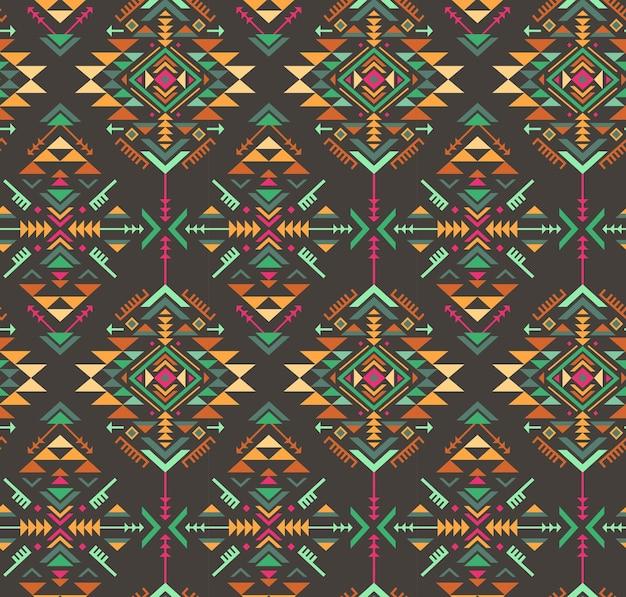 Buntes ethnisches nahtloses muster mit geometrischen formen.