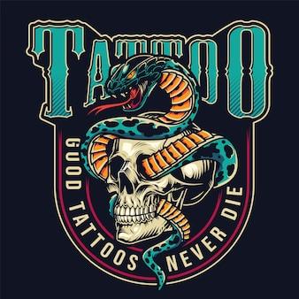 Buntes etikett des vintage tattoo studios