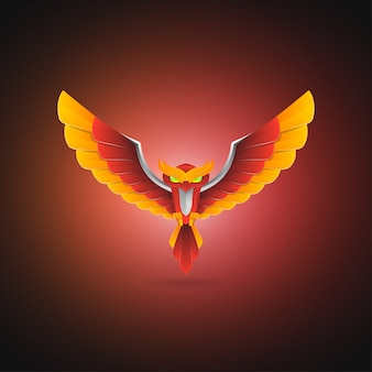 Buntes eulenmaskottchen-logo-design. tiervorlage mit farbverlauf