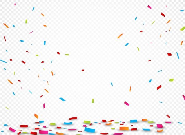 Buntes farbband und confetti, getrennt auf transparentem