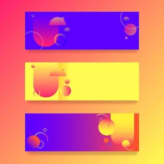 Buntes farbverlauf-banner-set