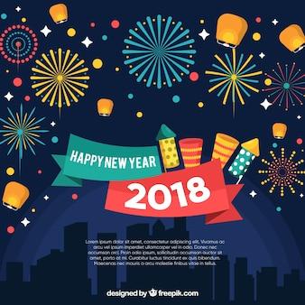 Buntes feuerwerk an neujahrsnächten