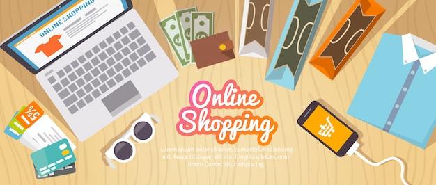 Buntes flaches einkaufsbanner für ihr geschäft, ihre websites usw. qualitätsdesignillustrationen, -elemente und -konzept. online einkaufen. online kaufen. lieferung.