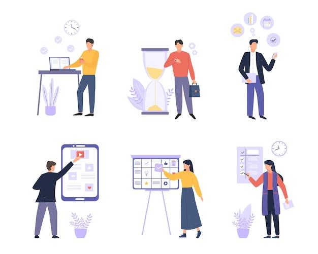Buntes flaches set der organisierten leute des geschäfts. zeitmanagement, planung, terminplanung und aufgabenorganisation steigern die produktivität. büroangestellte, angestellte zeichentrickfiguren