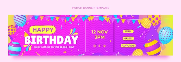 Buntes geburtstags-twitch-banner mit farbverlauf