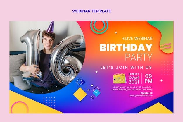 Buntes geburtstags-webinar mit farbverlauf