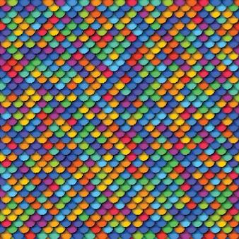 Buntes geometrisches nahtloses muster mit realistischem papier schnitt runde elemente