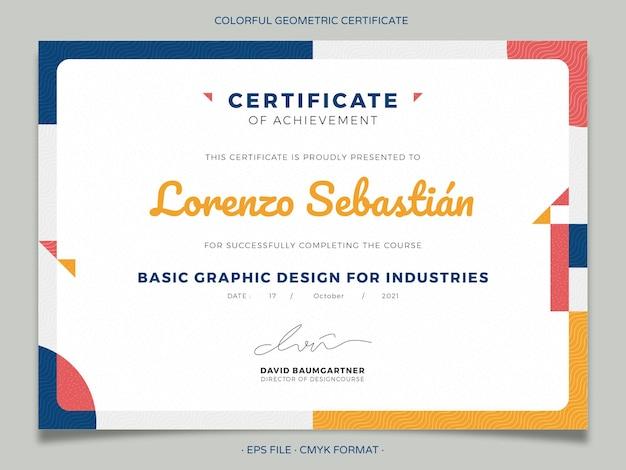 Buntes geometrisches zertifikatsdesign