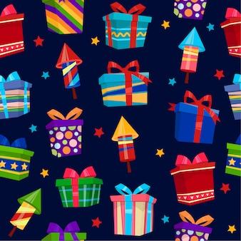 Buntes geschenkbox-nahtloses muster