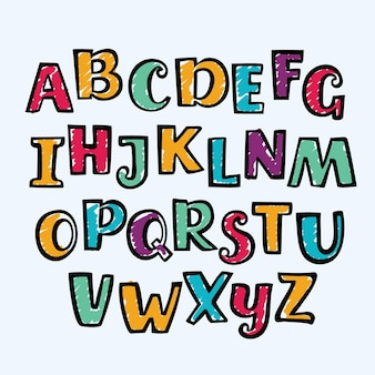 Buntes großbuchstabenalphabet des lustigen zeichentrickfilm-hand gezeichneten markers