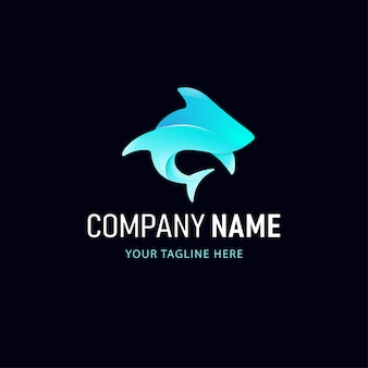 Buntes hai-logo-design. tier-logo mit farbverlauf