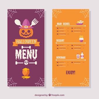 Buntes halloween-menü mit flachem design