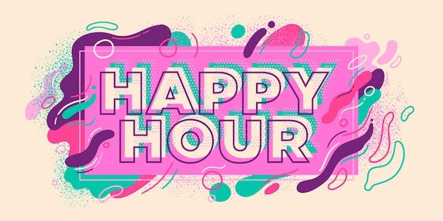 Buntes happy hour-bannerzeichen